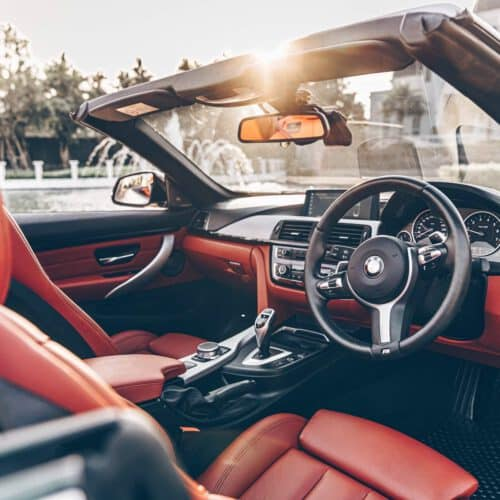 Red Interior of BMW 4 Series Convertible Rental