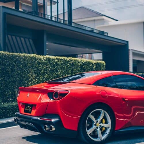 Side Profile of Ferrari for rent in Thailand